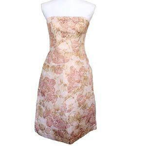 Ann Taylor Jacquard Strapless Dress Floral Pink 2